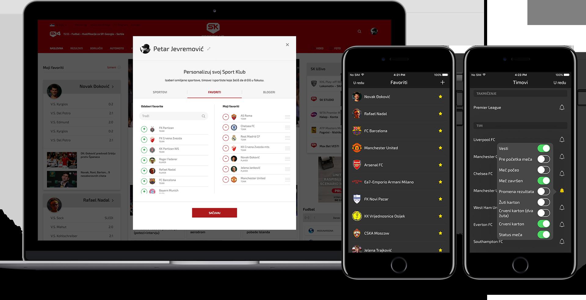 Sportklub personalize profile